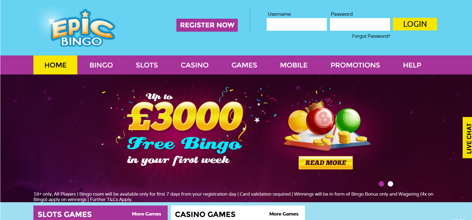 UK Bingo and Casino Games - Epic Bingo