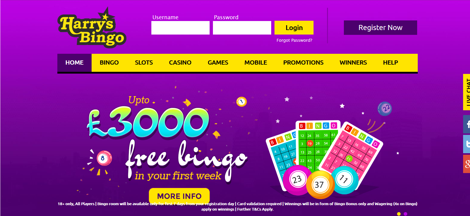 UK Bingo and Casino Games - Harrys Bingo