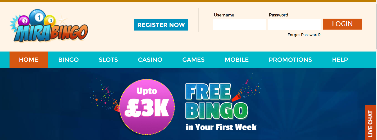 UK Bingo and Casino Games - Mira Bingo