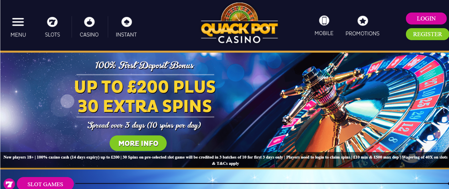UK Bingo and Casino Games - Quackpot Casino
