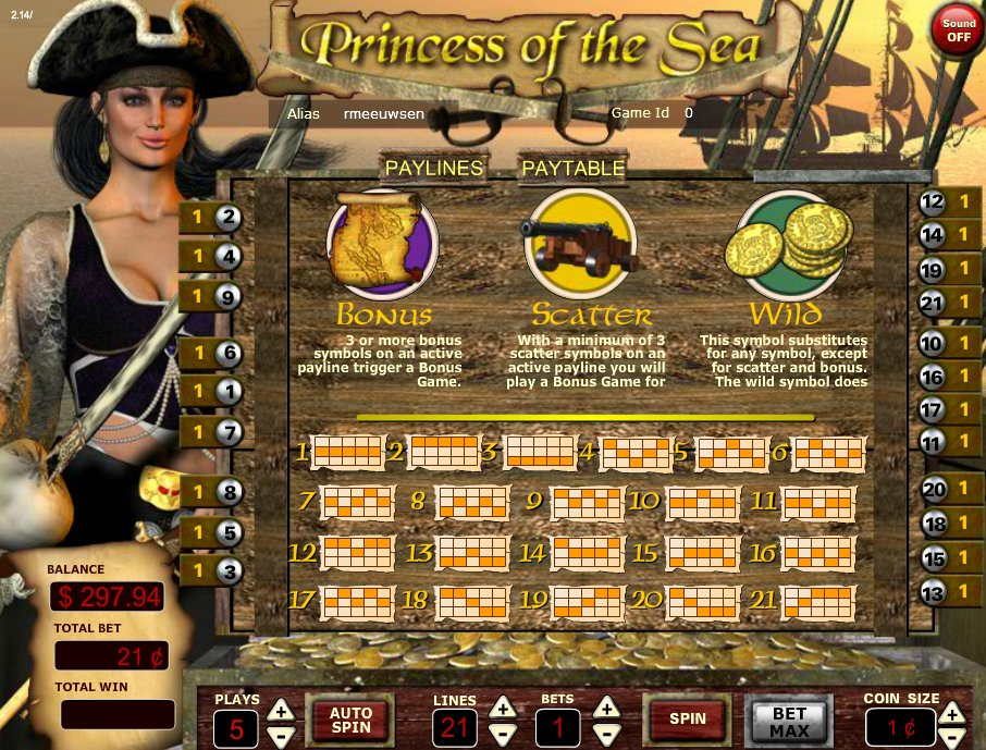 Princess of the Sea Bonus Scatter and Wild Features